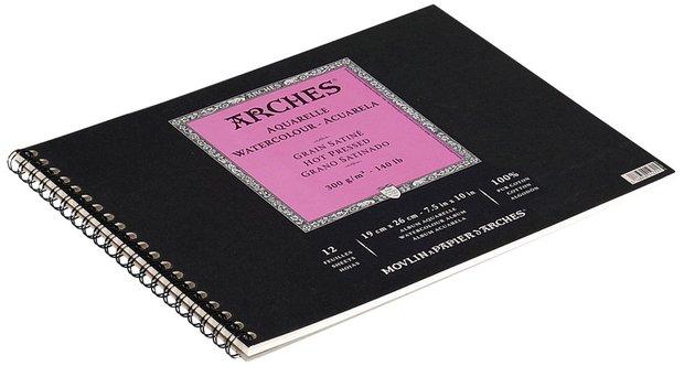 "Canson Arches Watercolor Paper: Hot Press, Album, 140 lb./300g, 7"" x 10"", 12-Sheets"