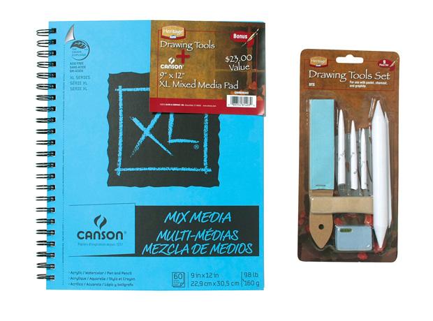 "Heritage & Canson Bonus Pad and Tool Set: 9"" x 12"", Mix Media"