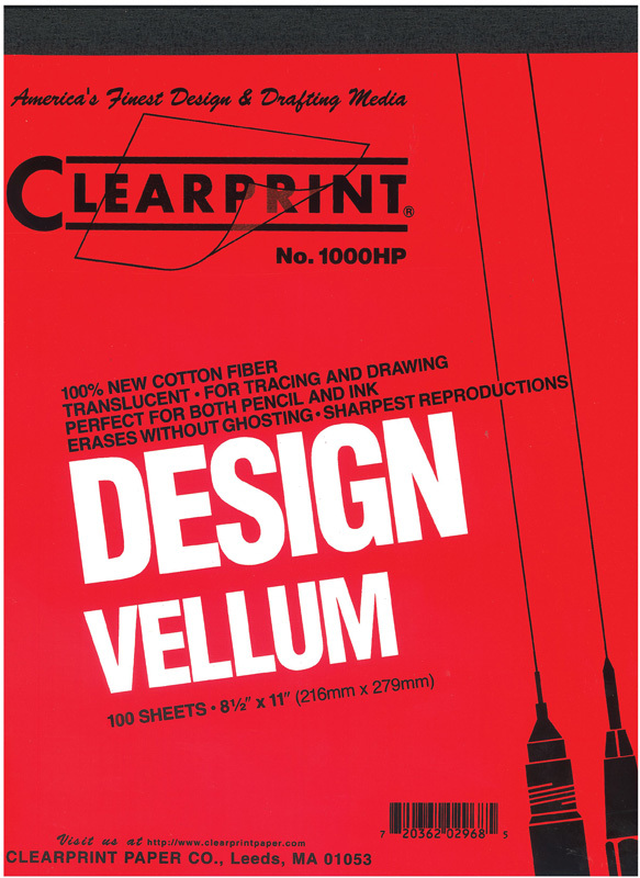 "Clearprint 1000H Series Unprinted Vellum Sheet: 11"" x 17"", 100-Sheet Pack"