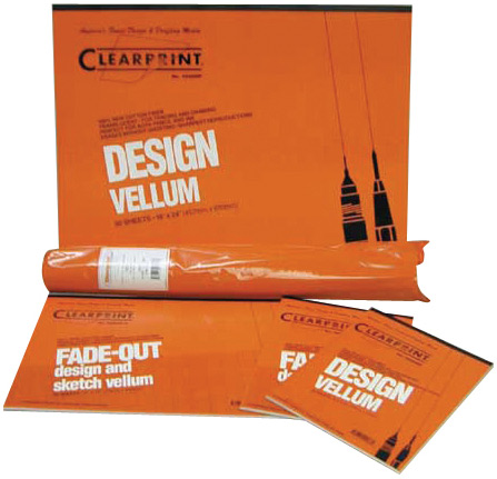 "Clearprint 1000H Series Printed Vellum Sheet: 11"" x 17"", 8 x 8 Grid, Pack of 10"