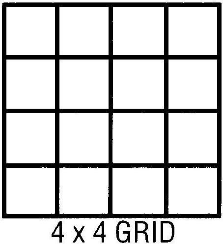 "Clearprint 1000H Series Printed Vellum Sheet: 11"" x 17"", 4 x 4 Grid, Pack of 10"