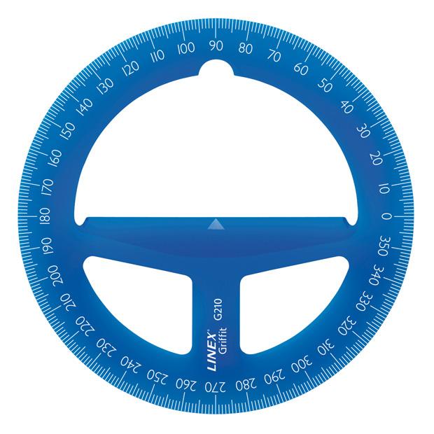 """Linex Protractors: 4"""", Circular, Blue"""
