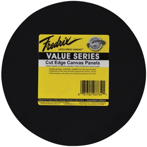 "Fredrix Value Series Cut Edge Canvas Panels : Black, 25-Packs, 12"" Round"