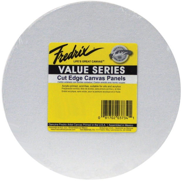 "Fredrix Value Series Cut Edge Canvas Panels : White, 25-Packs, 12"" Round"