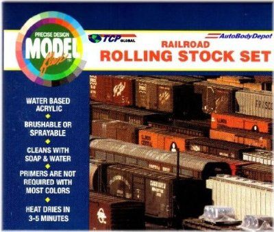 Modelflex rolling stock - Engine Black, Reefer White, Reefer Gray, Reefer Yellow, Reeder Orange, Dark Tuscon, and Light Tuscon.
