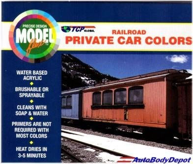 Modelflex RR private cars: Cabose Red, Rail Box Yellow, Mo Pac Blue, Pullman Green, Super Gloss Black, Santa-Fe Silver, Maroon Tuscon Oxide Red.