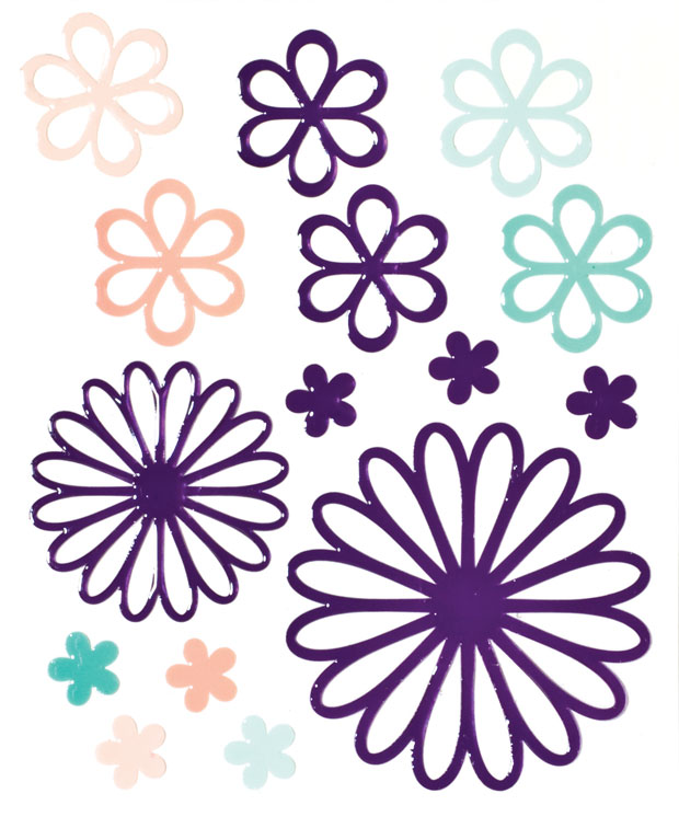 Blue Hills Studio ColorStories Glossy Embossed Daisy Stickers: Purple