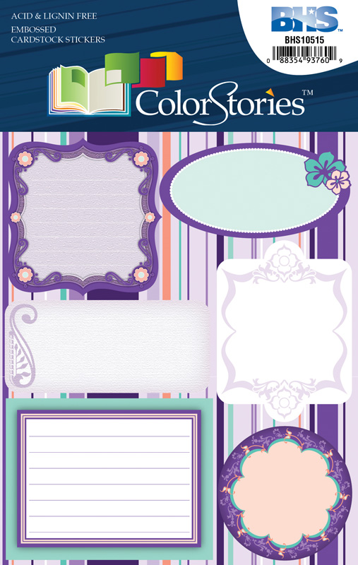 Blue Hills Studio™ ColorStories™ Embossed Cardstock Stickers Purple