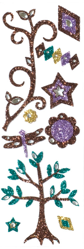 Blue Hills Studio ColorStories Glitter Bling Stickers: Brown