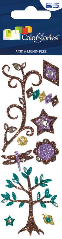 Blue Hills Studio™ ColorStories™ Glitter Bling Stickers Brown