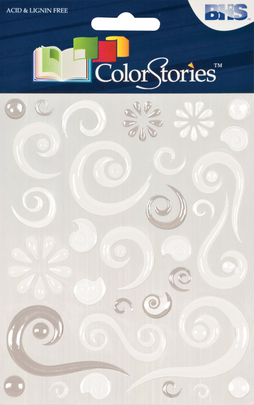 Blue Hills Studio™ ColorStories™ Epoxy Swirl Stickers White