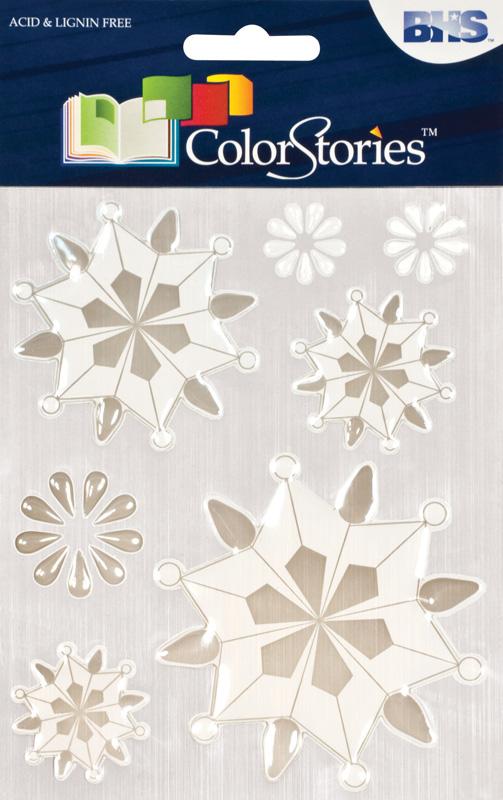 Blue Hills Studio™ ColorStories™ Epoxy Snowflower Stickers White
