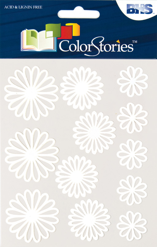 Blue Hills Studio™ ColorStories™ Gel Outline Daisy Stickers White