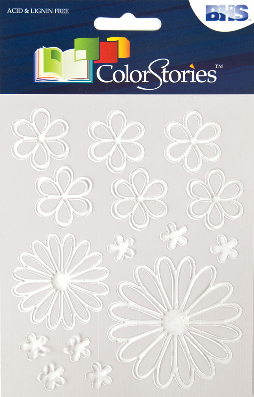 Blue Hills Studio™ ColorStories™ Glossy Embossed Daisy Stickers White