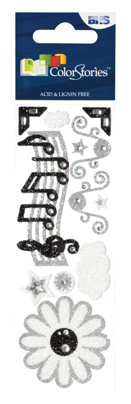 Blue Hills Studio™ ColorStories™ Glitter Bling Stickers Black & White