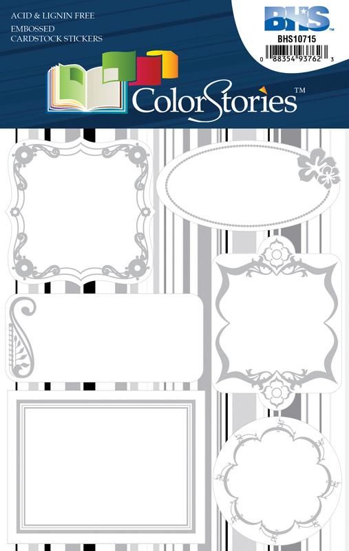 Blue Hills Studio™ ColorStories™ Embossed Cardstock Stickers White