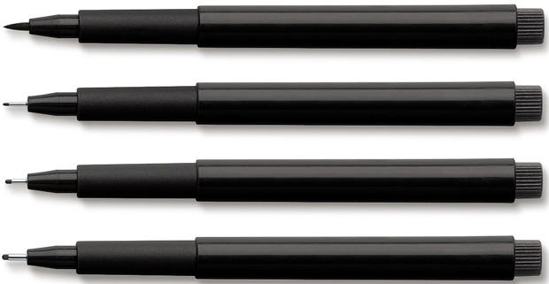 Faber-Castell PITT Artist Pen: Black, Wallet of 4 Pens (Assorted Line Widths)