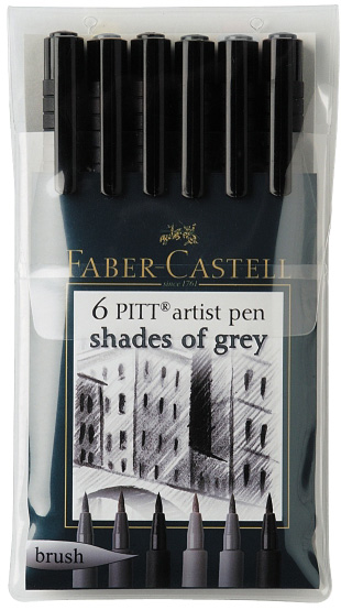 Faber-Castell PITT Artist Pen Shades Of Grey Color: Wallet of 6 pens