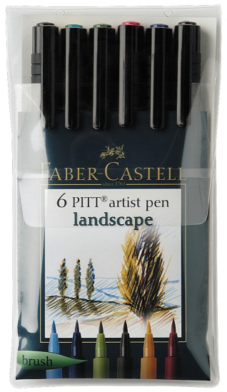 Faber-Castell PITT Artist Pen Landscape Color: Wallet of 6 pens