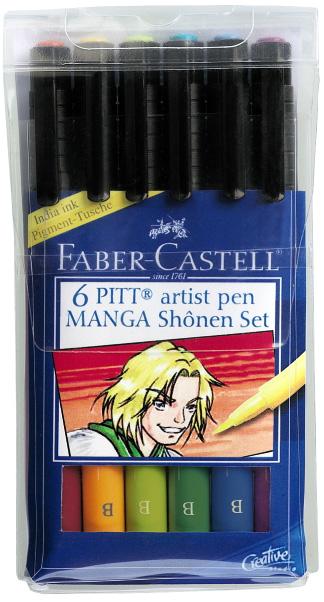 Faber-Castell PITT Artist Pen Shonen Manga: Wallet of 6 Pens