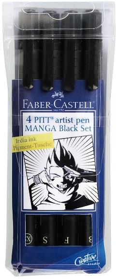 Faber-Castell PITT Artist Pen Black Set Manga: Wallet of 4 Pens