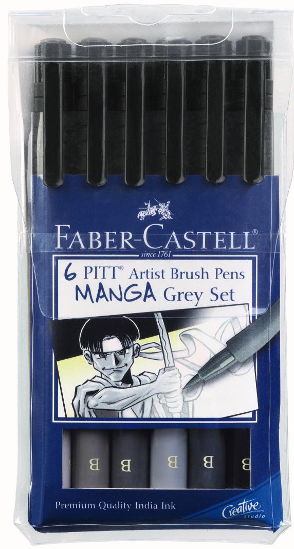 Faber-Castell PITT Artist Pen Kaoiro Manga: Wallet of 6 Pens