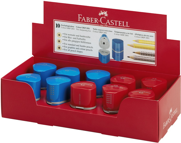 Faber-Castell GRIP 2001 Sharpening Box: Red & Blue Assorted, Pack of 10