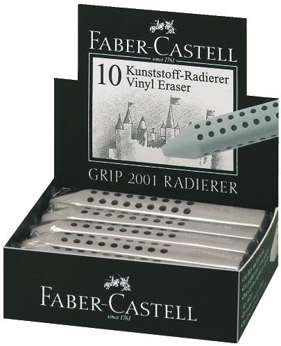 Faber-Castell GRIP 2001 Eraser: Grey, Pack of 12
