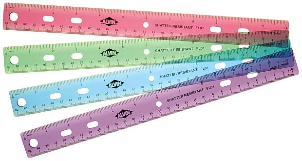 """Alvin 12"""" Plastic 3-Ring Binder Ruler"""