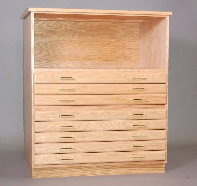 SMI Natural Oak Steel Drawer Guide Flat File Bookshelf
