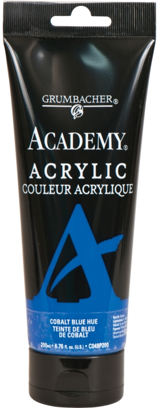 Grumbacher Academy Acrylic Paint: Cobalt Blue Hue, 200ml Plastic Tube