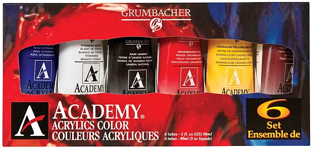 Grumbacher Academy Acrylic Set: 90ml (3 oz.) Tubes, 6 Pieces