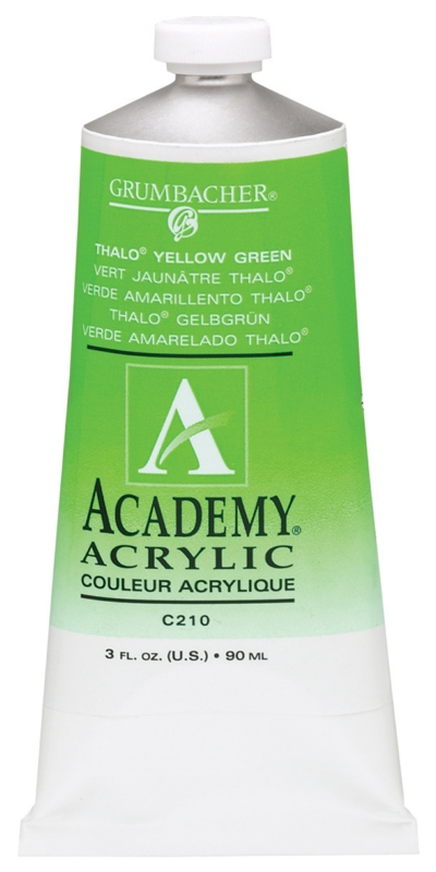 Grumbacher Academy Acrylic Paint: Thalo Yellow Green, 90ml Metal Tube, 3 Per Box