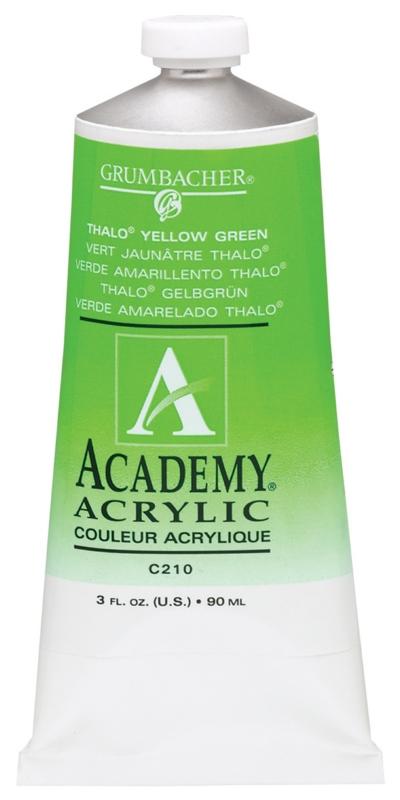 Grumbacher Academy Acrylic Paint: Thalo Yellow Green, 90ml Metal Tube, 3 Per Box
