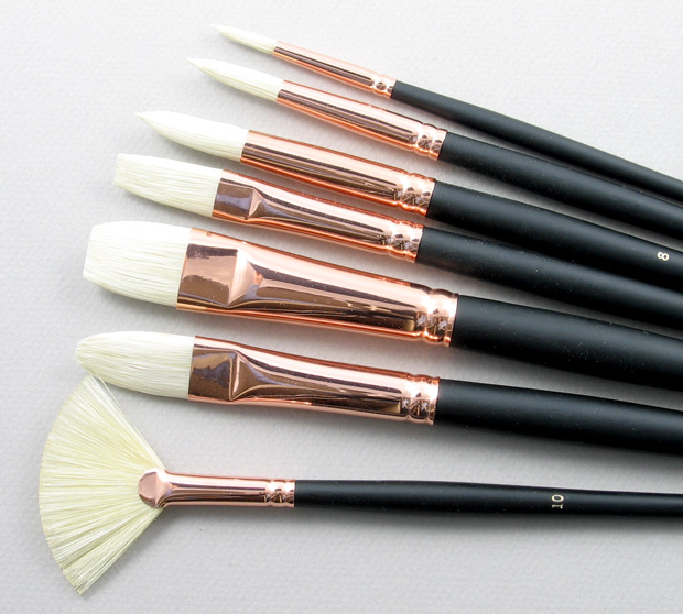 Academy Set of 7 Pure Hog Bristle Art Brushes: Head Shot
