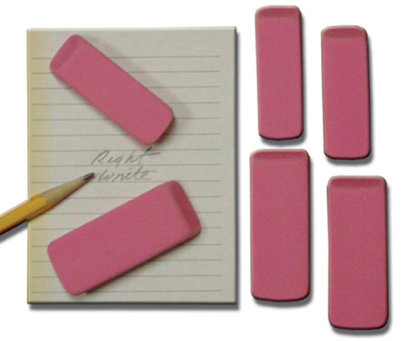 "Inovart Pink Beveled Eraser - Medium - 2-1/8"" x 3/4"" x  1/4-Inch"" - 12 per pack"