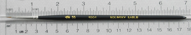 Kolinsky Sable 1001 Round # 55 Brush: Full Length Shot with Rulers