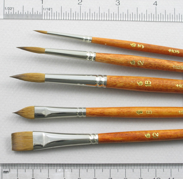 Long-Handle Set of 5 Kolinsky Sable Art Brushes: Head Shot