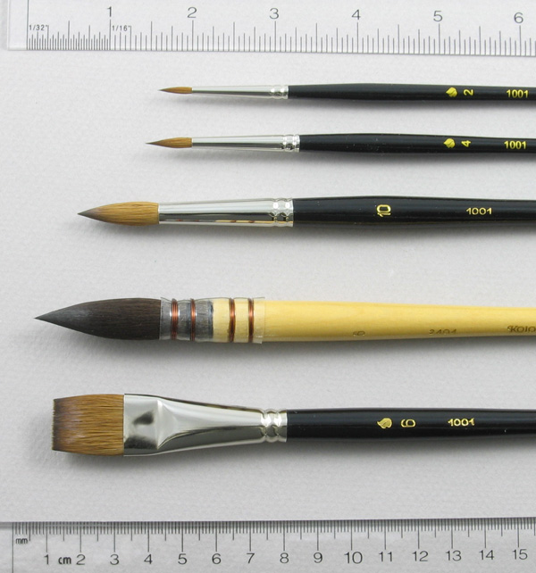 Watercolor Set of 5 Art Brushes: Head Shot