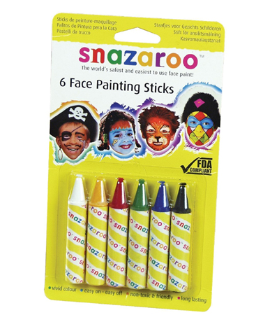 Snazaroo Face Painting Stick Set: Primary, Pack of 6