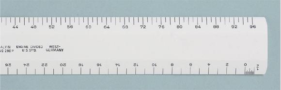 Alvin Series 280 White Plastic Flat Scale: Architectural 12 Inches