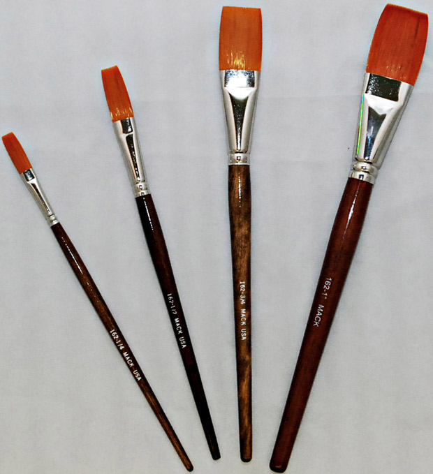 Mack Golden Taklon One Stroke Lettering Brush Series 162: Length 13/16 inches, Size-1/4 inches