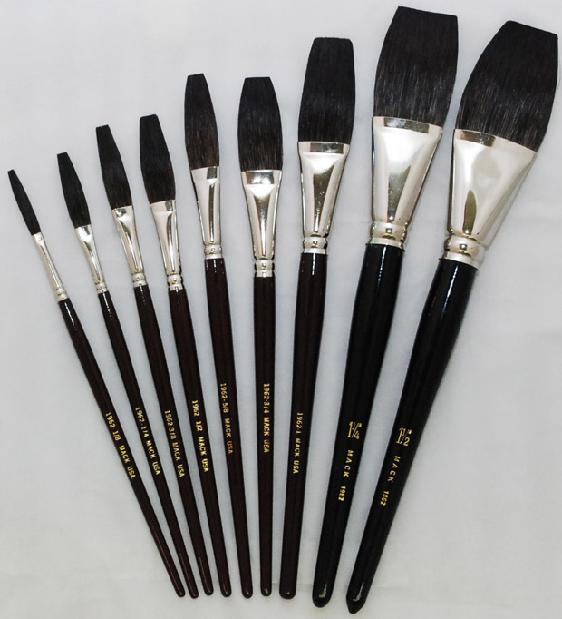 Mack Jet Stroke-Lettering Brush Series 1962: Hair Lengths 1-3/16 inches, Size - 1/8 inches