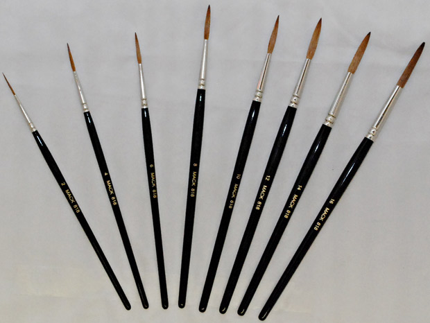 Mack Red Sable Lettering and Showcard Brush Series 818: Hair Lengths 1-1/8 inches, Size-12