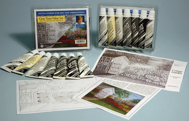 Prima Acrylic 7 Tube: 37 ml Gray Tone (Grisaille), Value Set