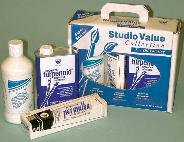 Studio Value Gesso, Permalba White & Turpenoid Set