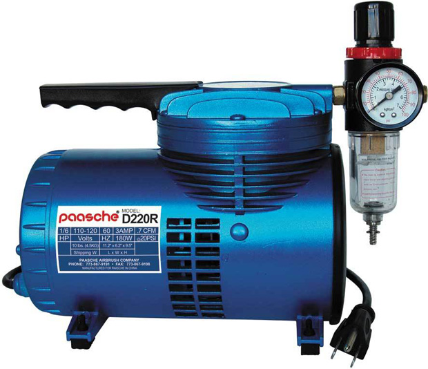 Paasche Model D220R 1/6 HP Compressor with Regulator and Moisture Trap 1/8 H.P.