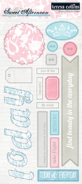 Teresa Collins Designs Sweet Afternoon Chipboard Elements 2