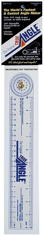 "True Angle Adjustable Protractor Ruler: 12"", Folder Size"