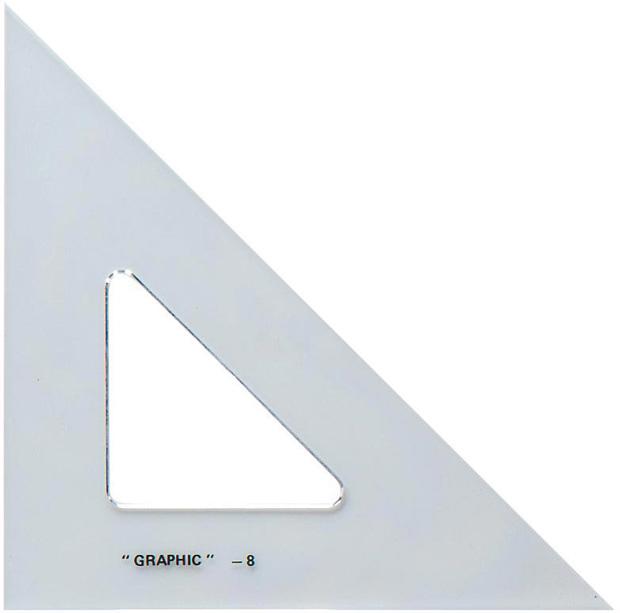 """Alvin Academic Transparent Triangle: 45°/90°, 10"""""""